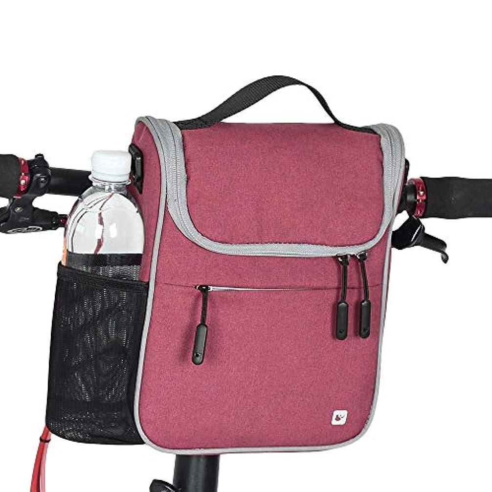 聖職者平和橋自転車のハンドルバーバッグ5L多機能自転車フロントチューブバッグハンドルバーサイクリングバッグアウトドアスポーツ乗馬用ポータブルバイクバッグ Soul hill (Color : Rose red)