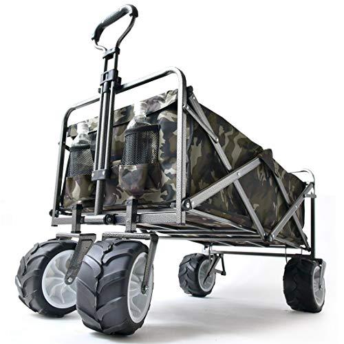 タンスのゲン キャリーワゴン ワンタッチ折り畳み式 幅広大型タイヤ * Raxus OFF ROAD * 89L 同色カバー付き 自立スタンド 迷彩柄 45600000 12AM 【61691】