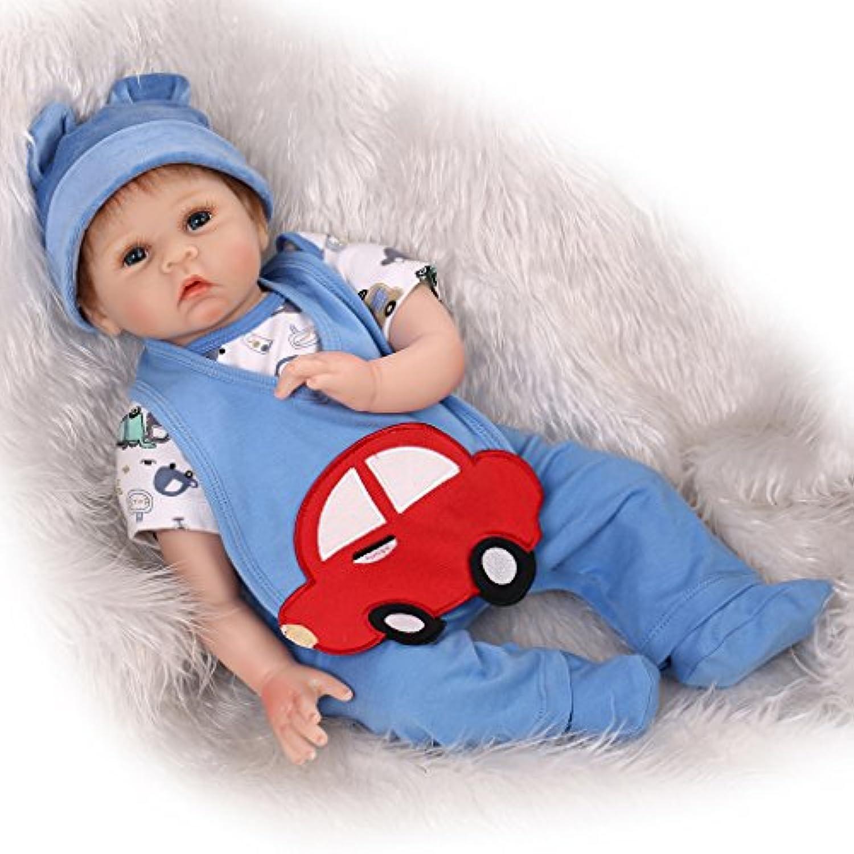 NPKDOLLシミュレーションRebornベビー人形ソフトSilicone 22インチ55 cmビニールLifelike Vivid Boy Girl Toyブルーレッド車