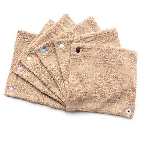 華布 オーガニックコットンの布ナプキン【スナップ付き(スクエア約13×約13cm)まとめ買いセット】6枚入り