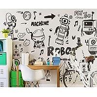 3D壁紙壁紙ロールパーソナリティ、落書きロボット黒白線壁の壁画、子供部屋用壁紙208 cm(W)x 146 cm(H)