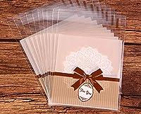 100個BakeryバッグOpp自己粘着クッキーキャンディビスケットRoasting TreatギフトDIYプラスチックバッグ