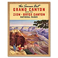 Travel Summer Grand Canyon North Rim Bryce National Park Art Print Framed Poster Wall Decor 12X16 Inch 旅行夏大全国パークポスター壁デコ