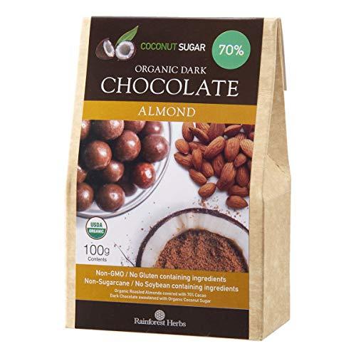 アーモンド オーガニックダークチョコレート ペルー産カカオ70% 有機ココナッツシュガー 100g 1個