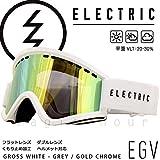 (エレクトリック)ELECTRIC EGV AF メンズ レディース スノーボード スキー ゴーグル スノボ ボード用 スノーゴーグル アジアンフィット ミラー加工 くもり止め 平面 ダブルレンズ GLOSS WHITE GREY/GOLD CHROME