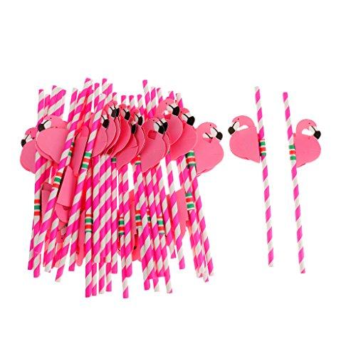 ノーブランド品 ピンク 25pcs フラミンゴ ストライプ ストロー トロピカル ビーチパーティー/バー用の器物