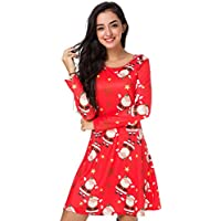Siteluoyi Christmas Santa Claus Print Womens Long Sleeve Midi Dresses Casual Party Prom Formal