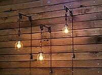 プーリ壁マウントwith Industrialケージライト、木製ハンドル–ペンダントライトby Industrial巻き戻し