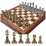 ZEYUGTIW メタルチェスセット チェスゲーム キングサイズ 高さ67mm ゲーム Iternational Chess 木製折りたたみチェスボード チェスマン