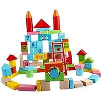 Baoblaze 約100pc 木のおもちゃ  ベビー 積み木 木製パズル玩具 ソートパズル 建設おもちゃ セット 子供玩具