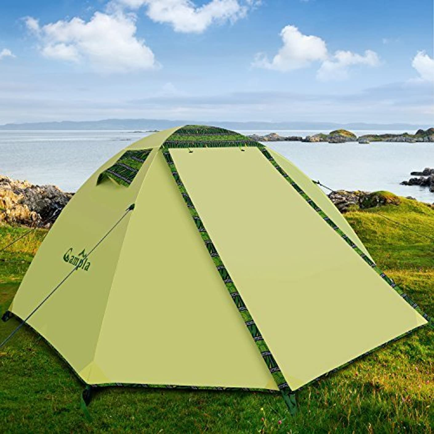 想起オートメーションうんCampla Tent for Camping Outdoors,Backpacking Tents with LED Fit 2 3 Person 3 Season Lightweight Waterproof Tent for Family Mountaineering Hiking Traveling Easy Set-Up with Carrying Bag Green [並行輸入品]