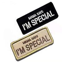 刺繍入りマジックテープワッペンベルクロワッペン アップリケDIY おしゃれ パッチMAMA SAYS I M SPEC IAL(母は私が特別だと言いました。 )2色2枚セット