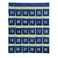 ozzptuu 30ポケットダークブルーNumbered教室ポケットチャート携帯電話用の壁ドアHangingオーガナイザーストレージバッグwith 4フック