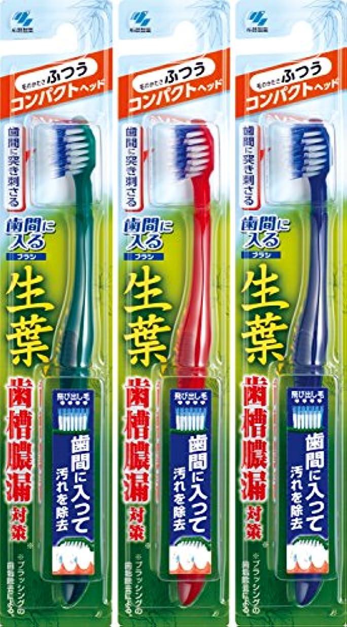 許さないすり減るコンクリート【まとめ買い】生葉(しょうよう)歯間に入るブラシ 歯ブラシ コンパクト ふつう×3個