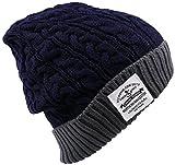 HIROMARUjp ニット帽 タグ付き ニットキャップ 帽子 男女兼用 B ネイビー×グレー