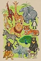 アジア、アフリカ動物–コラージュ–ソフトCartoon 24 x 36 Signed Art Print LANT-83863-710