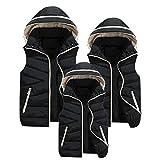 親子お揃い服 Mangjiu レディース ベスト ダウン ジャケット 袖なしの胴着 超軽量 防寒防風 シンプル 柔らか (ブラック, XL)