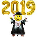 今買う<br> <br>!この素晴らしいキットの風船であなたの卒業生を祝います! 2019バルーンパーティー岩を作ります!あなたの卒業式の日に祭りの雰囲気を作成します。 <br> <br>金ときらびやかな卒業装飾が華やかな卒業パーティーの雰囲気を追加します。写真、イベントやパーティーの装飾のための完璧な。
