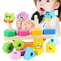 VIGOO 子供用 木製玩具 動物 バランス 玩具 コラム型 カラー形状 組み立てブロック 赤ちゃん