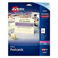 """Averyアイボリーインクジェットプリンタ用はがき、4–1/ 4"""" x5–1/ 2インチ、100のパック( 5919)"""