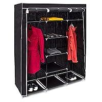 Relaxdays XXL折りたたみワードローブ、次のサイズのバレンティンモデルHXBXT:173 x 148 x 42.5 cm、2個のドレッシングバー、合計9個の棚、ワードローブとして最適、ブラックカラー
