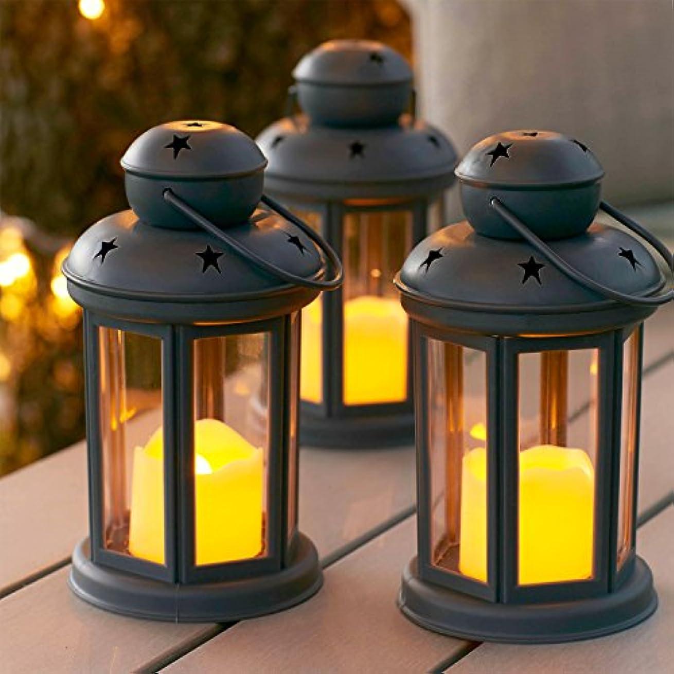 ファシズム感覚信頼性Lights4fun, Inc. 3個セットグレー電池式LEDフレームレスキャンドルランタン 屋内屋外用