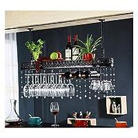ヨーロッパの錬鉄ワイングラスラックホームバーバーワイングラスカップホルダーぶら下げワインキャビネット装飾ハンガー装飾(色:黒、サイズ:60 * 25cm)