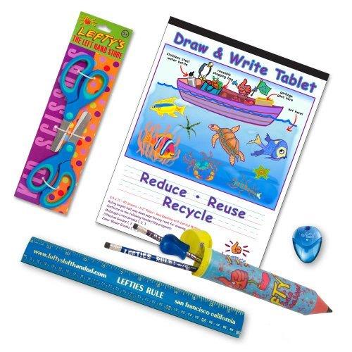左利き用学用品 8歳以下向け はさみ・定規・鉛筆など9品セットのカラー:ブルーおよびグリーン。
