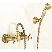 シャワーヨーロッパスタイルレトロシンプルなシャワーセット銅アンティークのバスルームバスルームシンプルなクリエイティブシャワー、ブロンズ