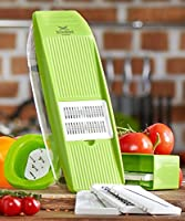 Cheese Slicer Grater - Vegetable Mandoline Slicer - Julienne Peeler - Multi Cutter for Potato Chips, Cucumber, Onion, Cabbage - Food Storage, 5 Blades and Hand Protector - Multi-Use Veggie Tool