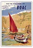 """Fly to Portugal–by BOAC (British Overseas Airways Corporation)–ヴィンテージ航空旅行ポスターbyフランク・Wootton c.1951–マスターアートプリント 13"""" x 19"""" PRTC3207"""