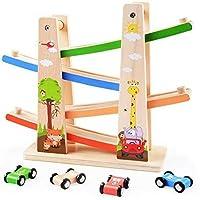 くるくるスロープ 木製スロープ 転がし遊び 木のおもちゃ 車玩具 滑空車 4台セット ミニコースター 4つ軌道 駐車場付き 大人も子供も楽しめる知育玩具 ルーピング ビーズコースター スロープトイ
