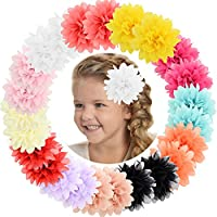 "ALinmo Baby Girls Clips 24pcs 3.5"" Chiffon Flower Clips Hair Barrettes Hair Pins Hair Accessories for Baby Girls Infants Teens Toddlers Kids Set of 12 Pairs"