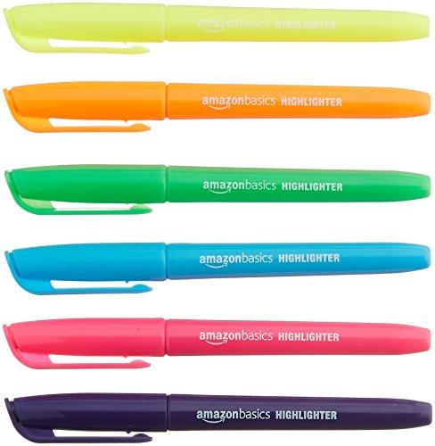 Amazonベーシック 蛍光ペン チゼルチップ 蛍光マーカーペン 24本セット