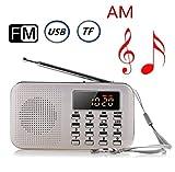 CSMARTE AM FMラジオ 超薄型ミニポケットラジオ 多機能 LEDライト Micro SD/TFカードに対応 (白い色)