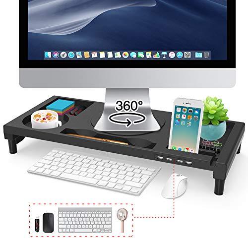 EAYHM モニター台 360°回転型 パソコン台 モニタースタンド 4 USBポート 大容量 回転台付き 机上台 収納ラック 日本語説明書付 KM-02 ブラック