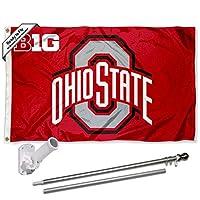 オハイオ州立大学バックアイズ ビッグ10 旗 ポールとブラケットキット付き