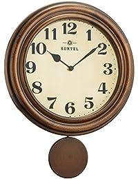 さんてる レトロ電波振り子時計 日本製 ブラウン 930961 DQL669