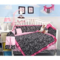 SoHo Pink with Black & White Zebra Chenille Crib Nursery Bedding 10 pcs Set by SoHo Designs