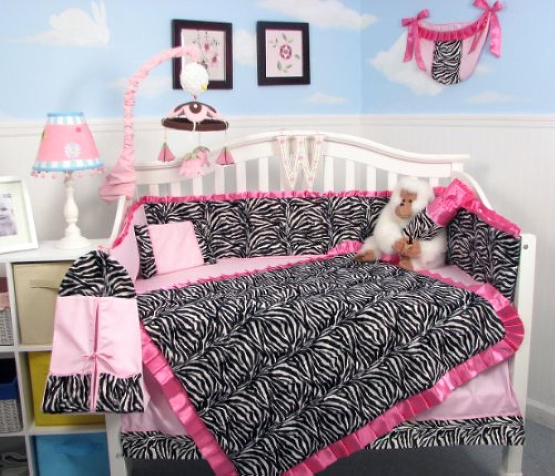 SoHo Pink with Black & White Zebra Chenille Crib Nursery Bedding 10 pcs Set by SoHo Designs