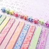 Squadare 桜の雪 蛍光 可愛い柄 星用 折り紙 (星)、420枚 /20色