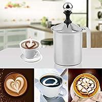 PREUP真新しい熱い販売大容量の400ccステンレス鋼ダブルメッシュ泡立て器DIYファンシーコーヒークリームミルク泡立て器(銀)