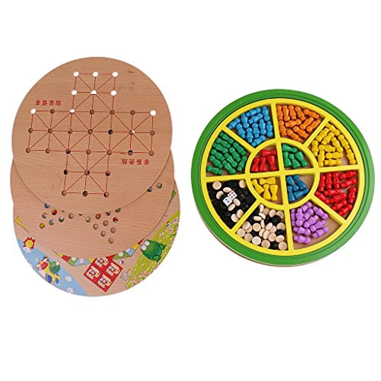 Fityle 高品質 木製 5イン1 チェス ボードゲーム チェッカーボード 子供 教育玩具 贈り物