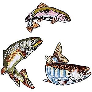 riverpeak リアルフィッシュ 刺繍 アイロンワッペン ヤマメ イワナ ニジマス 3点セット RP-WP400
