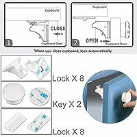 磁気キャビネットロックforツールホーム改善、8pcsロック& 2キー、ABS Ferromagnet Chubb with 3M Adhesive、ツールまたはネジ必要なく、簡単にインストールwithout damaging家具for Baby & Child