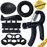 ProHand | Premium Quality Hand Grip Strengthener Exercise Set (5-in-1 pack) - Adjustable Resistance Hand Gripper 5-60 KG, Finger Exerciser, Finger Stretcher, Grip Ring and Squeeze Stress Ball - Optimises Hand Strengthening Workout - Hand Rehabilitation - Enhances Hand Flexibility - Relieves Joint Pain | ProHand Lifetime Warranty