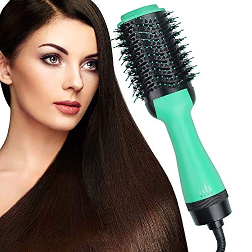 宇宙即席より多いヘアドライヤーブラシワンステップ、4-in-1ホットエアスタイラーとボリューマイザー、マイナスイオンカーラー矯正コーム、3つの温度、縮れを軽減し、長い髪に適しています,グリーン
