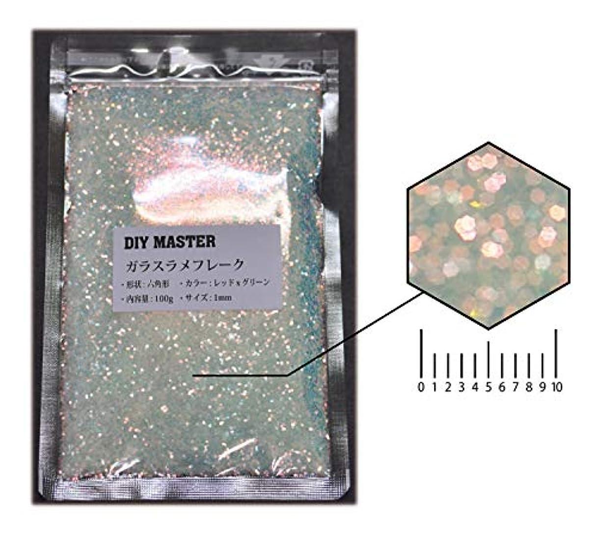 不明瞭ライオン合成DIY MASTER ガラスラメフレーク (偏光) レッドxグリーン 1mm 100g