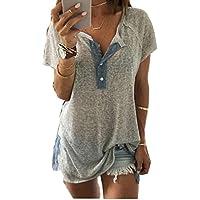 HOPEA Women Deep V-neck Loose Casual Button Blouse Patchwork T Shirt Tank Tops