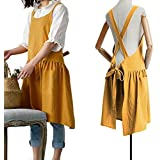 FADUOFA Fashion Cotton Kitchen Apron Korean Style and Linen Cooking Waist for Cooking Baking Painting Gardening Cleaning (Bri